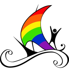 boat with rainbow sail vector image vector image