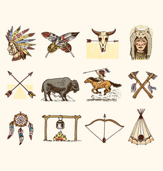 indian or native american buffalo axes and tent vector image vector image