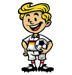 little soccer player posing with the ball vector image