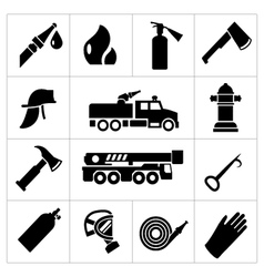 Set icons of firefighter and fireman vector image