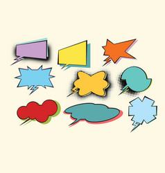 set of colored comic bubbles with halftone effect vector image