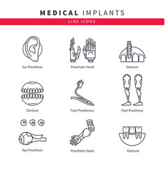 various medical prostheses vector image