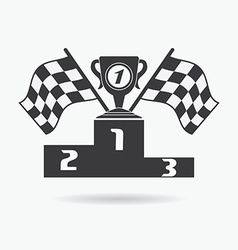 Flag icon checkered or racing flags first place vector