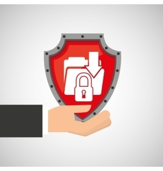 hand holding folder file shield protection data vector image vector image