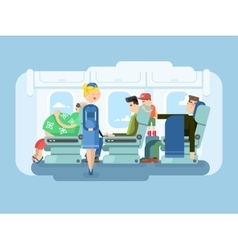 Interior of plane flat design vector image vector image
