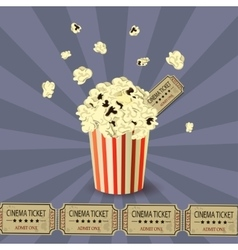 Popcorn bowl and ticket vector image