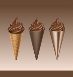 set of chocolate soft serve ice cream waffle cone vector image vector image