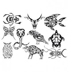 set of tribal animal tattoos vector image