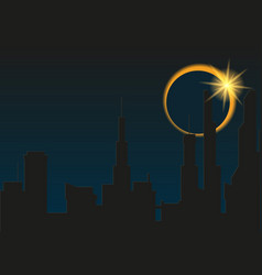 total eclipse of the sun in the city vector image
