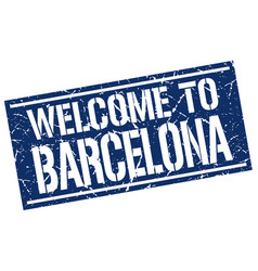 welcome to barcelona stamp vector image vector image