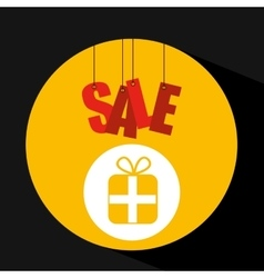Shopping cart sale gift box icon vector