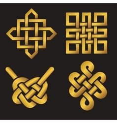 Auspicious endless knots setbuddhist symbolgold vector