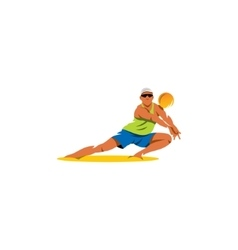 Beach volleyball sign Player takes the ball vector image vector image