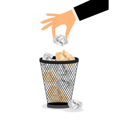 hand with crumpled paper vector image vector image