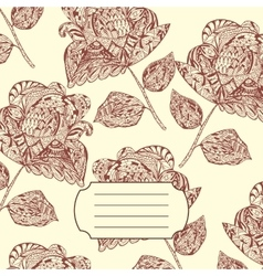 Notebook Cover with hand-drawn Flower Pattern vector image