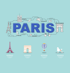 paris landmark icons for traveling in france vector image vector image