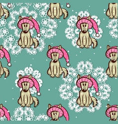 seamless pattern dog in funny hat vector image vector image