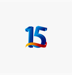 15 years anniversary celebration number blue vector
