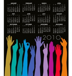 2010 hands calendar vector