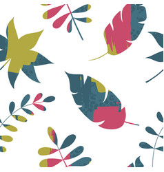 abstract trendy seamless pattern with plants vector image