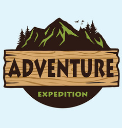 adventure mountain camping logo template vector image