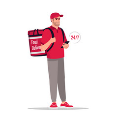 All day package delivery semi flat rgb color vector