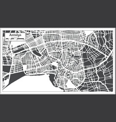 Antalya turkey city map in retro style outline map vector