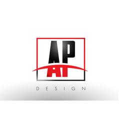 Ap a p logo letters with red and black colors vector