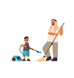 Arab father and son having fun while cleaning vector