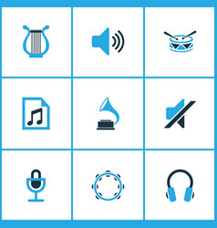 Audio colored icons set collection of drum vector