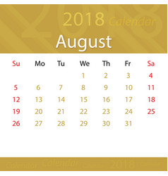 august 2018 calendar popular premium for business vector image