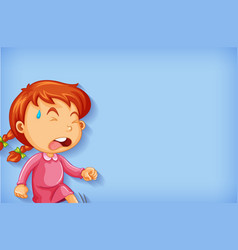 background template design with crying girl vector image