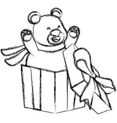 bear in giftbox cartoon vector image