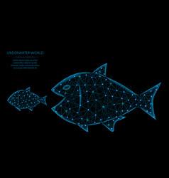 Big fish eat small low poly model predator and vector