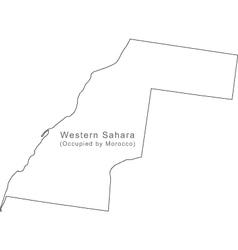 Black White Western Sahara Outline Map vector image