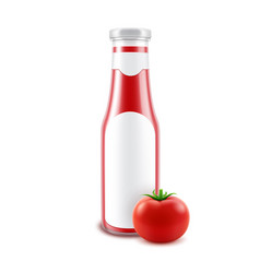 blank glass glossy red tomato ketchup vector image