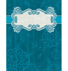 Blue grunge background with decorative label vector