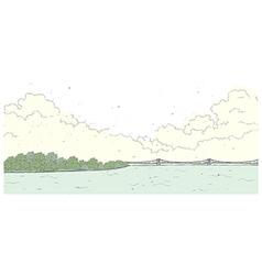 Bridge coastline background vector