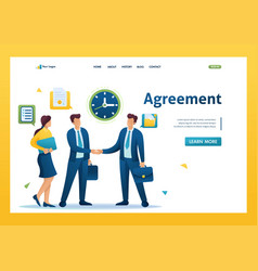 businessmen large companies sign an agreement vector image