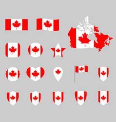 canada flag icons set canadian flag symbols vector image