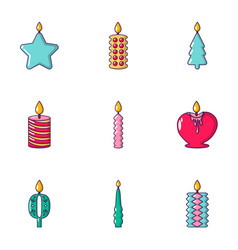 candlelight icons set cartoon style vector image