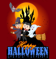 cartoon children and ghost with big moon backgroun vector image