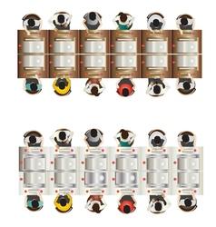Casino furniture slot machine top view set 8 vector