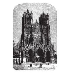 Cathedral of rheims vintage vector
