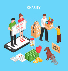 charity isometric composition vector image