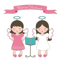 Christmas card with little angels vector