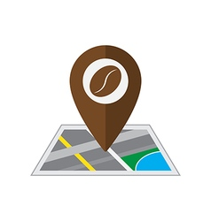 Coffee pin on coordinated map location illu vector