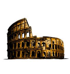 Coliseum italy attractions vector