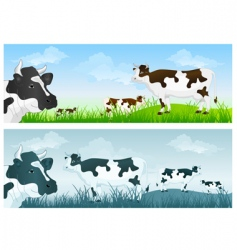 Cow in meadow vector