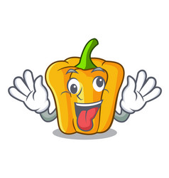 crazy sweet yellow pepper isolated on mascot vector image